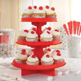 Bandeja 3 pisos para cupcakes roja