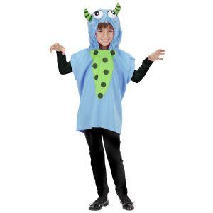 Poncho con capucha monstruo azul inf