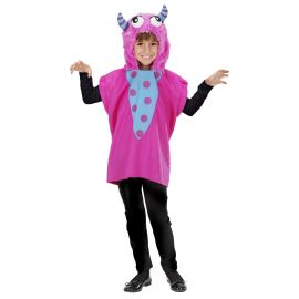 Poncho con capucha monstruo rosa inf