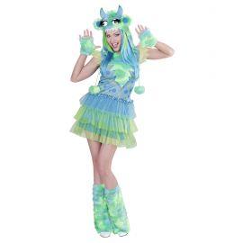 Disfraz chica monstruosa verde talla s