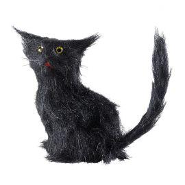 Mini gato negro con pelo 12cm