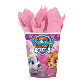Vasos patrulla canina rosas pack 8
