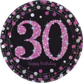 Platos 30 cumple rosa 8ud