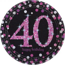 Platos 40 cumple rosa 8ud
