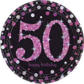 Platos 50 cumple rosa 8ud