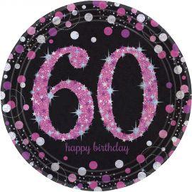 Platos 60 cumple rosa 8ud