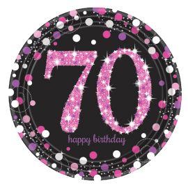 Platos 70 cumple rosa 8ud