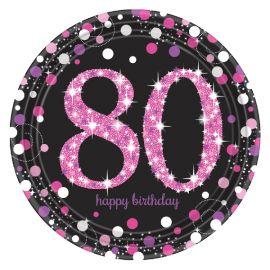 Platos 80 cumple rosa 8ud