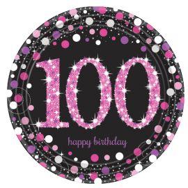 Platos 100 cumple rosa 8ud