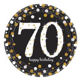 Platos celebracion 70 cumple oro