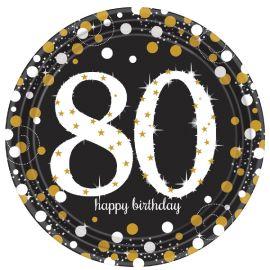 Platos celebracion 80 cumple oro
