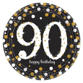 Platos celebracion 90 cumple oro