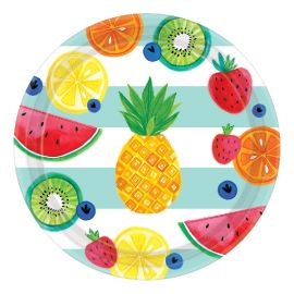 Platos frutas tropicales pack 8 27cm