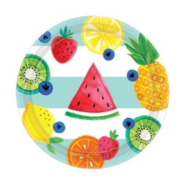Platos frutas tropicales pack 8 18cm