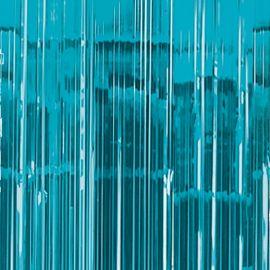 Cortina metalizada flecos azul turquesa