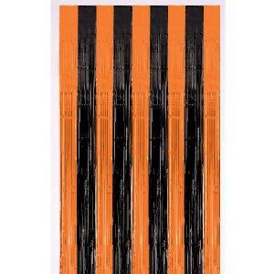 Cortina metalizada flecos negro naranja