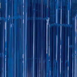 Cortina metalizada azul flecos