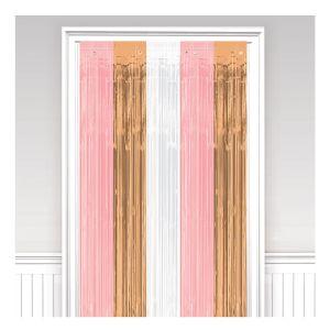 Cortina metalizada flecos rosa dorado