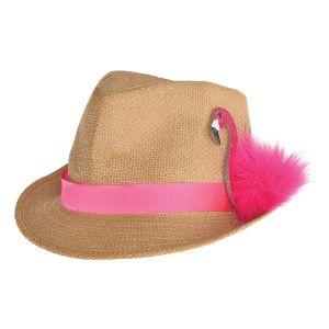 Sombrero paja con flamenco rosa