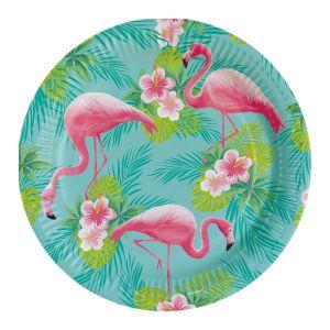 Platos flamenco rosa 23 cm pack 8