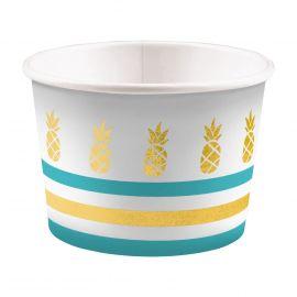 Vasos bowl piña dorada pack 8