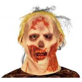 Mascara zombie con pelo latex