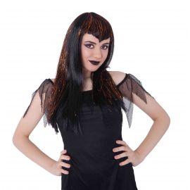 Peluca vampira negra naranja