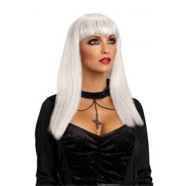 Peluca vampiresa blanca adt
