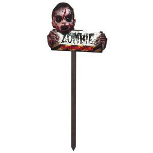 Letrero zombie con palo y luz 65cm