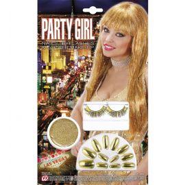Kit uñas pestañas y maquilla oro
