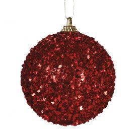 Pack 3 bolas navidad escarcha roja