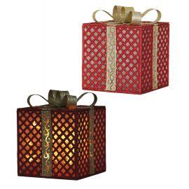 Caja regalo roja con luz 20x25cm