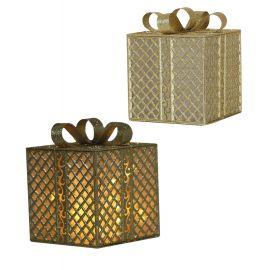 Caja regalo oro con luz 20x25cm