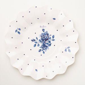 Platos postre rosa inglesa azul 8 und