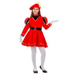 Disfraz paje rojo niña