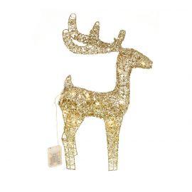 Ciervo metalico oro luz 46cm