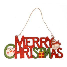 Letrero feliz navidad madera 22cm