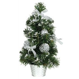 Arbol nevado decorado plata 30cm