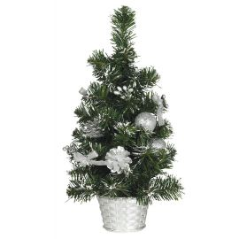 Arbol nevado decorado plata 40cm