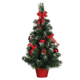 Arbol nevado decorado rojo 60cm
