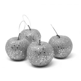 Pack 4 manzanas escarcha plata 6,5cm