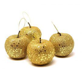 Pack 4 manzanas escarcha oro 6,5cm
