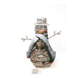 Muneco de nieve mimbre luz 40cm