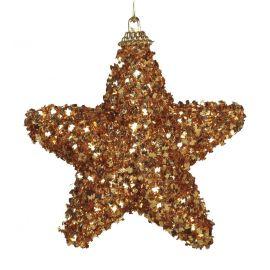 Pack 3 estrellas escarcha oro 6cm