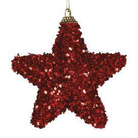 Pack 3 estrellas escarcha rojo 6cm