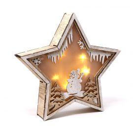 Estrella madera con luz 24cm