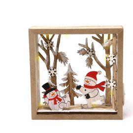 Marco navidad madera con luz 16cm