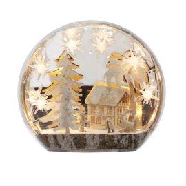 Paisaje navidad madera con luz 24cm