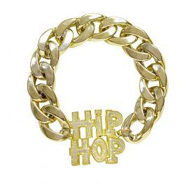 Pulsera hip hop dorada