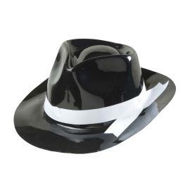 Sombrero ganster cinta blanca pvc